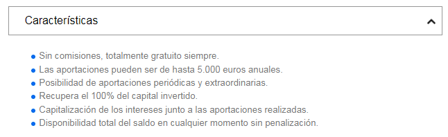 Características Cuenta Ahorro 5 CIALP de Banco Sabadell