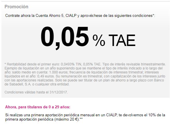 Cuenta Ahorro 5 CIALP de Banco Sabadell