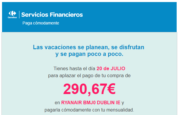 Servicios Financieros Carrefour paga cómodamente