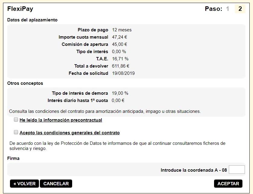 FlexiPay Kutxabank simulación aplazamiento de pago 12 meses