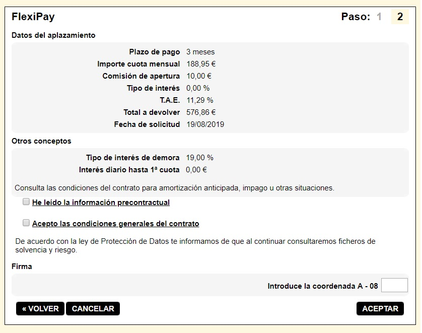 FlexiPay Kutxabank simulación aplazamiento de pago 3 meses