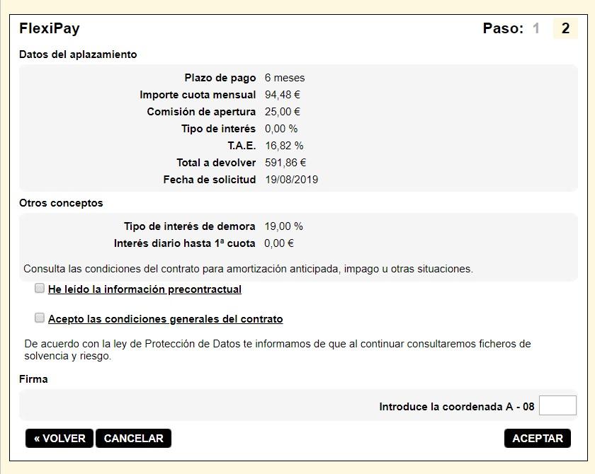 FlexiPay Kutxabank simulación aplazamiento de pago 6 meses
