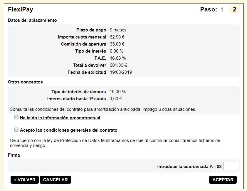 FlexiPay Kutxabank simulación aplazamiento de pago 9 meses
