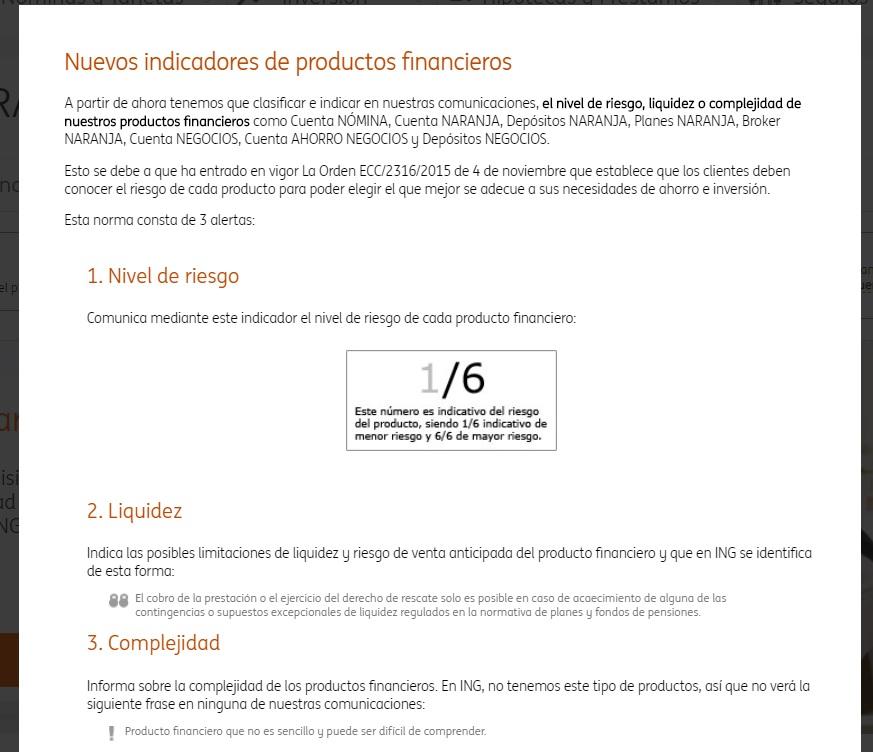 Indicador de producto financiero cuenta naranja mini ING
