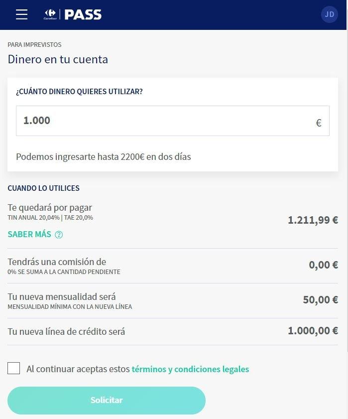 Carrefour Pass para imprevistos 1000 eur