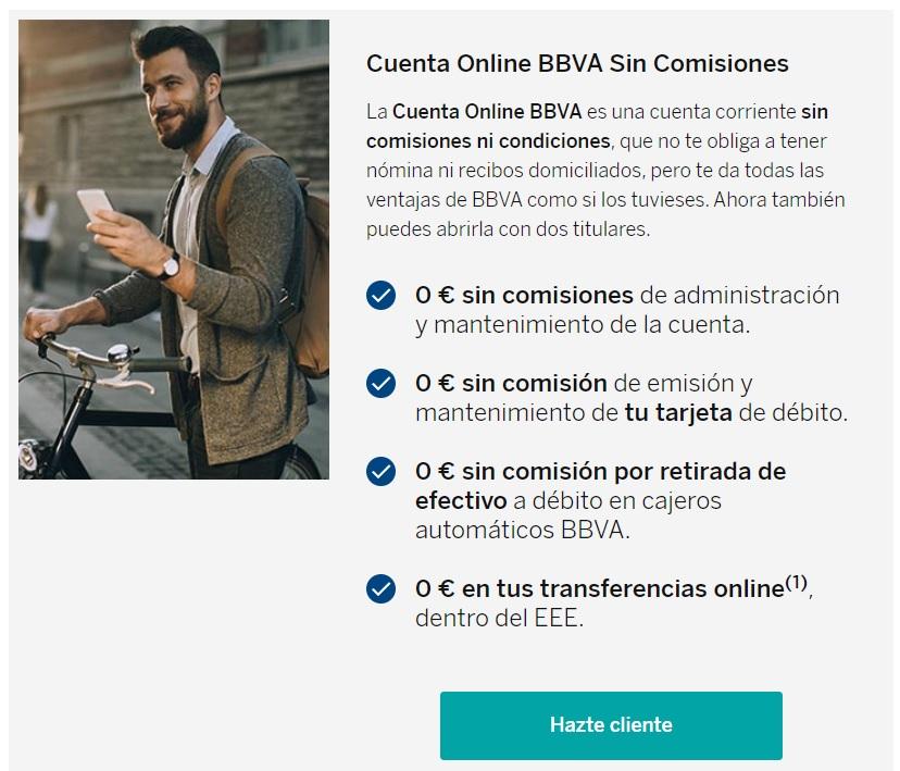 Ventajas Cuenta online BBVA