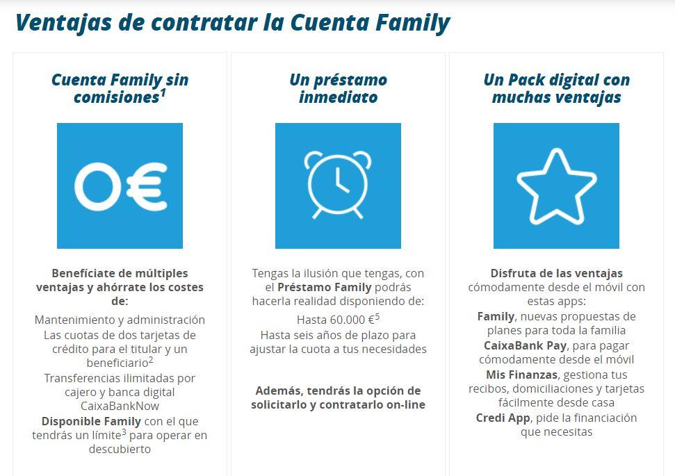 Ventajas de la cuenta Family de Caixabank