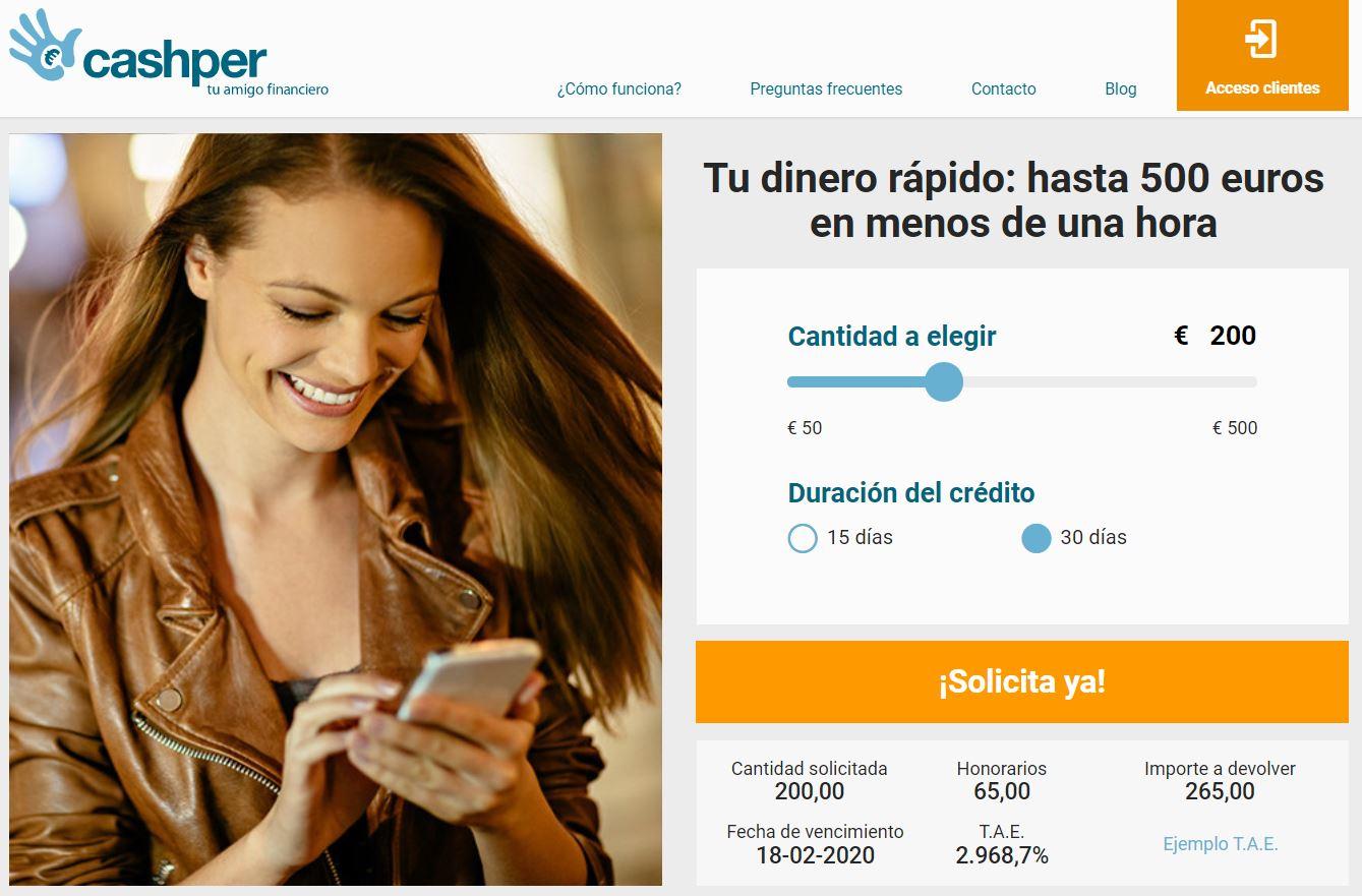 Ejemplo de TAE de un préstamo rápido de Cashper
