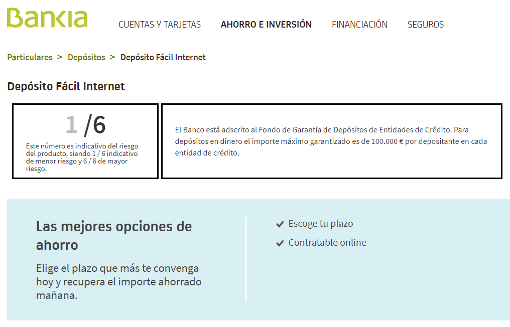 Depósito Fácil Internet Bankia