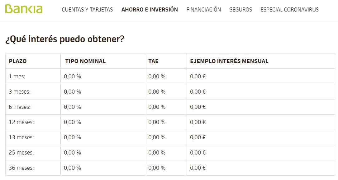 Depósitos Bankia remuneració y tipo de interés junio 2020