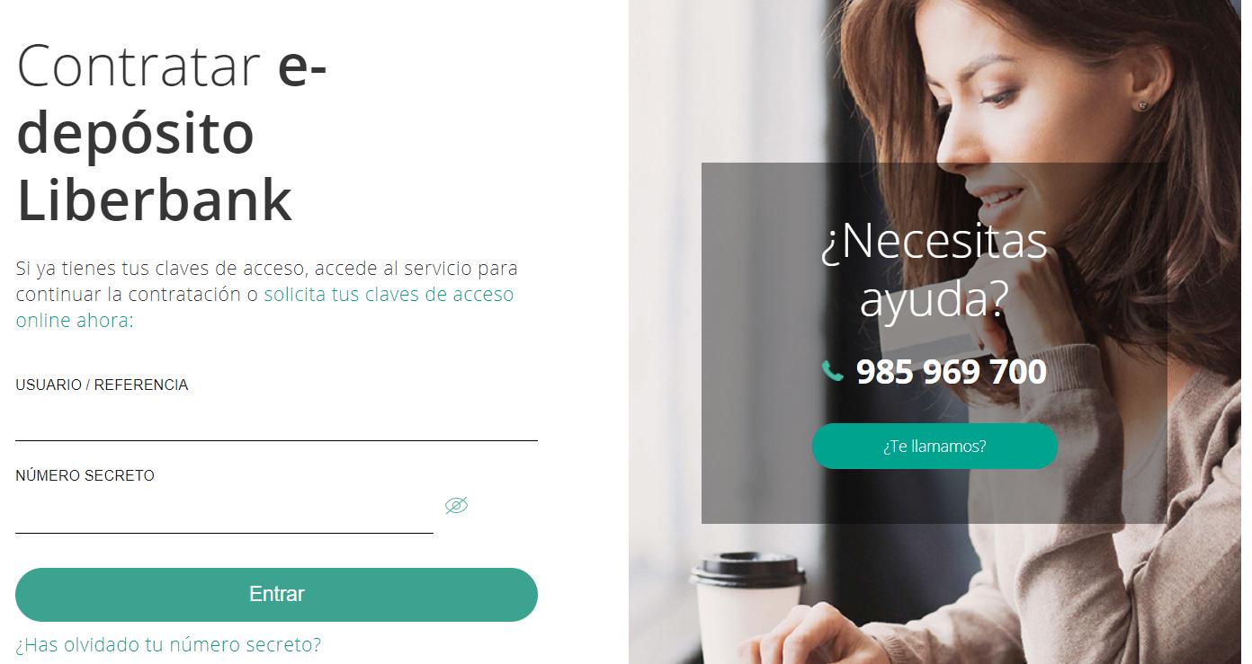 Contratar online e-deposito Liberbank
