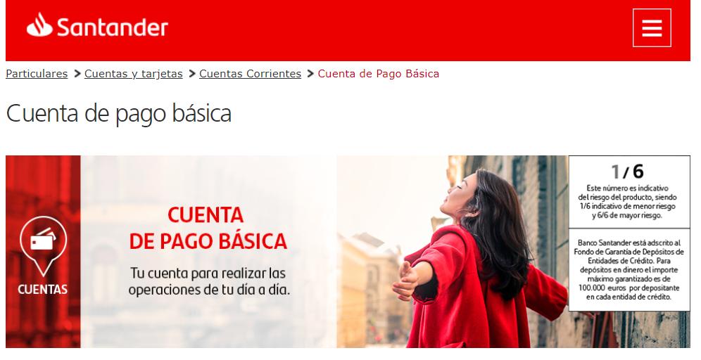 Cuenta de pago básica Banco Santander