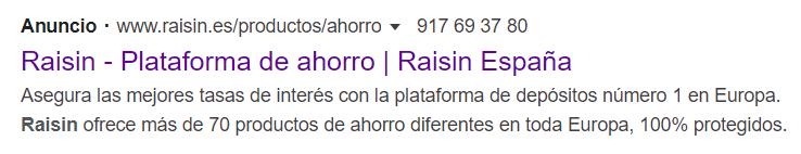 Depósitos Raisin