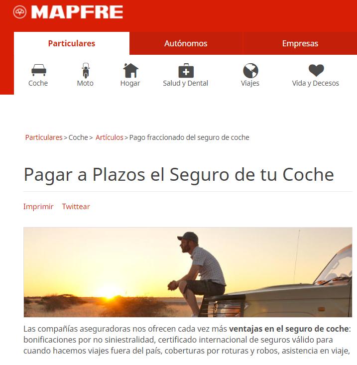 Mapfre pago fraccionado del seguro por meses