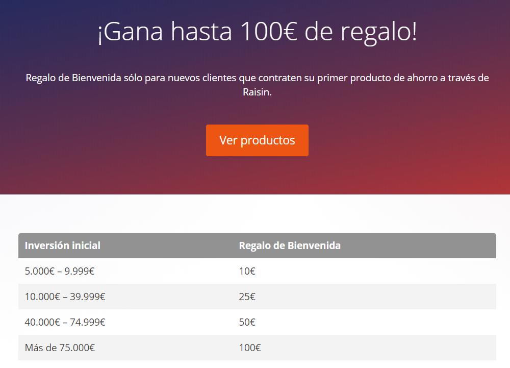Promoción Raisin 100 euros