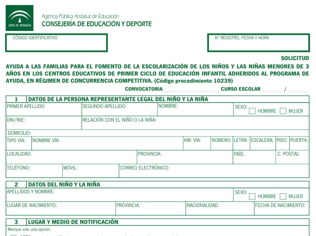 Formulario ayuda comedor escolar Andalucía