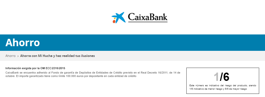Mi Hucha Caixabank riesgo