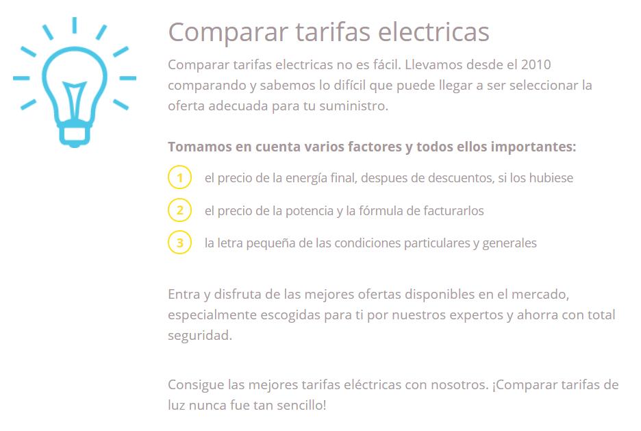 Comparador de tarifas eléctricas Tarifas de Luz