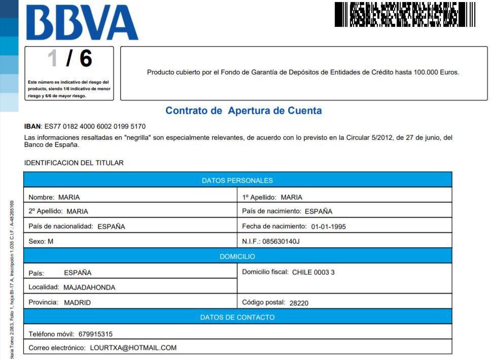 Contrato cuenta corriente BBVA explicado