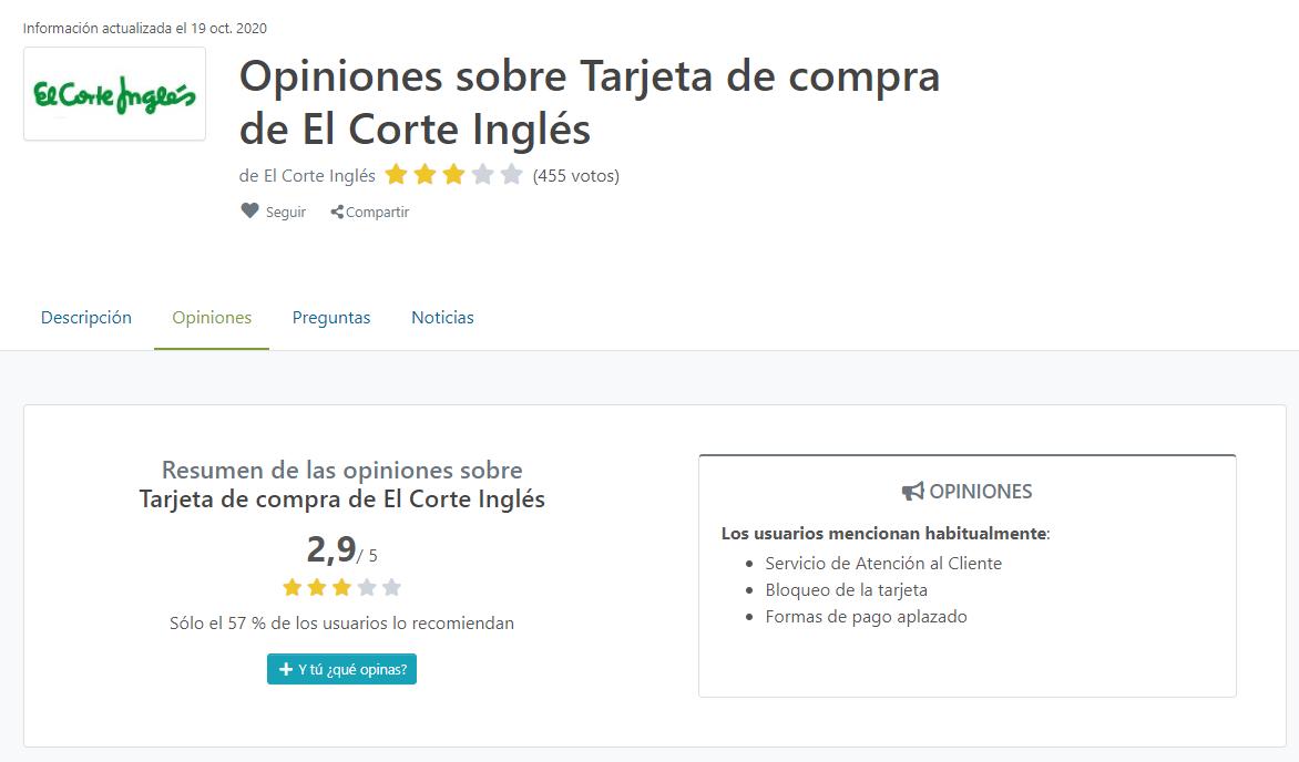 Opiniones tarjeta El Corte Inglés