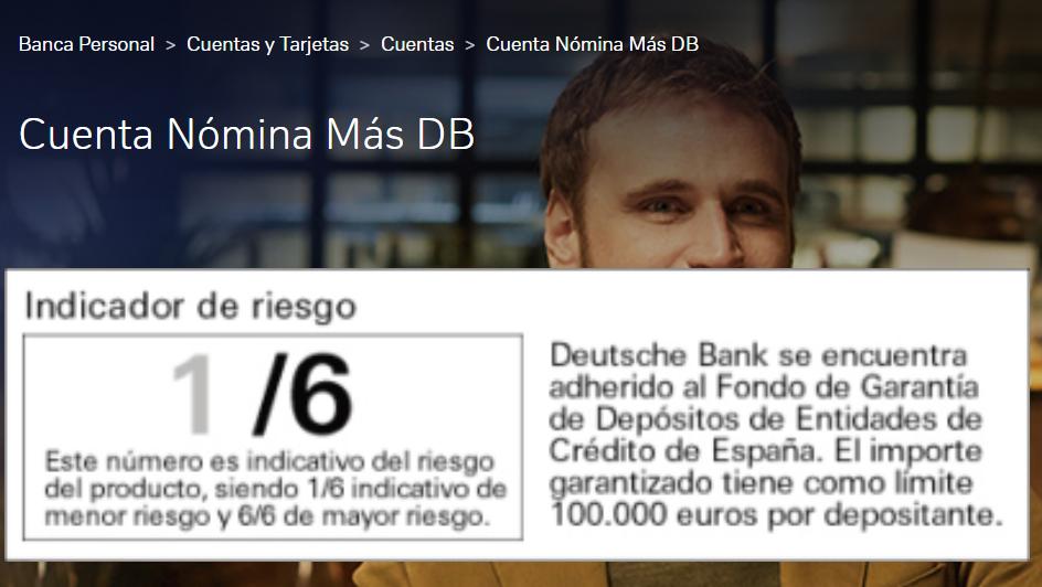 Cuenta nómina DB Indicador de riesgo