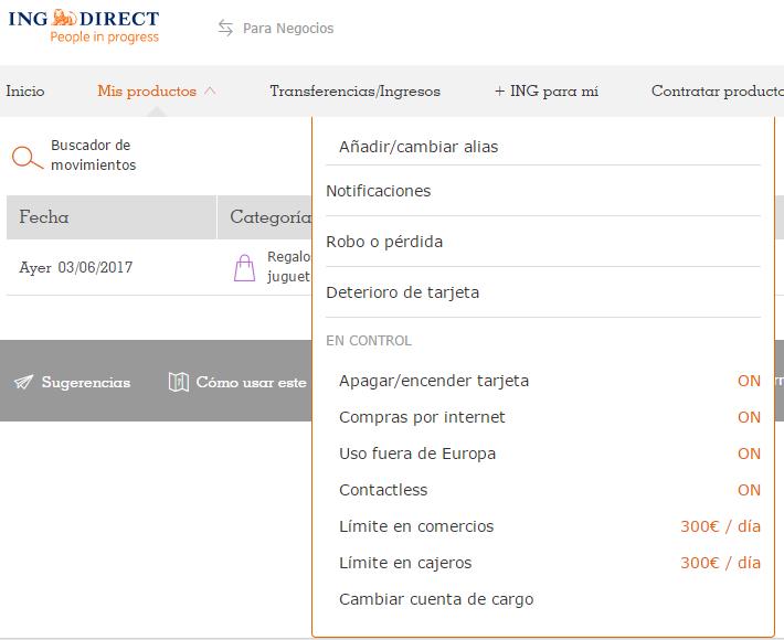 Administración de tarjeta de débito en ING Direct