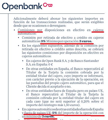 Comisiones Openbank tarjeta crédito cajeros