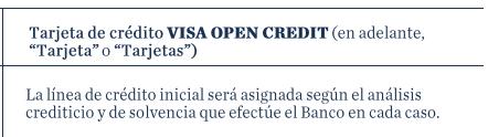 Tarjeta de crédito VISA OPEN CREDIT de Openbank